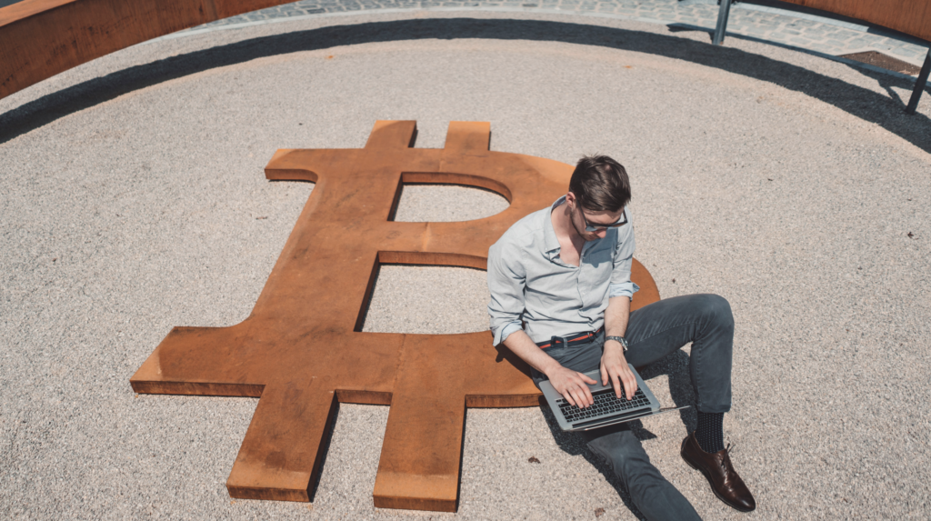 Bitcoin Worker Business Travel Cryptocurrencies